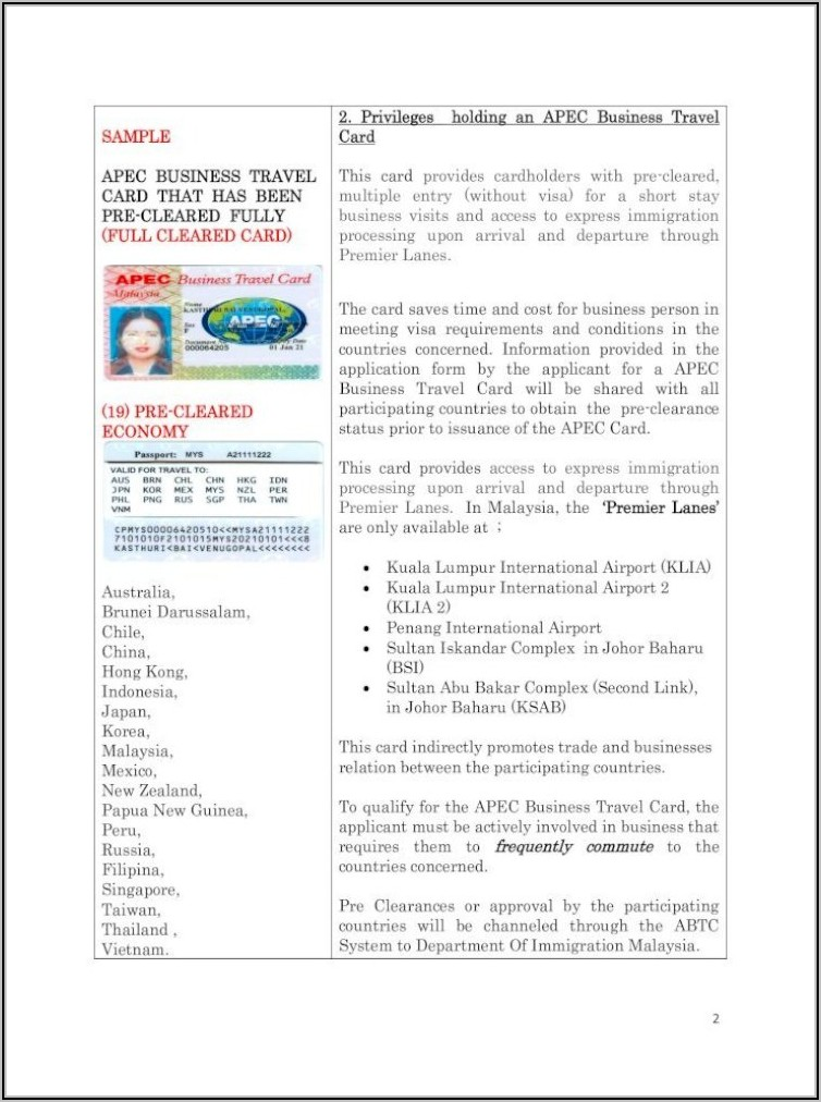 How To Apply Apec Business Travel Card In Malaysia