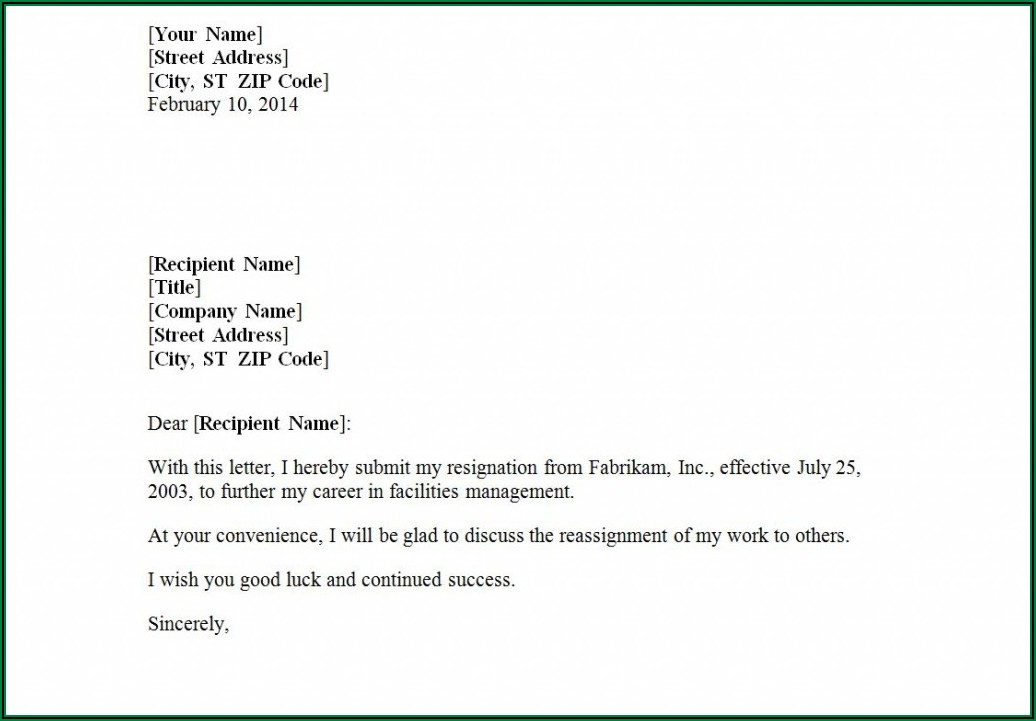 How To Write A Resignation Letter Example Uk