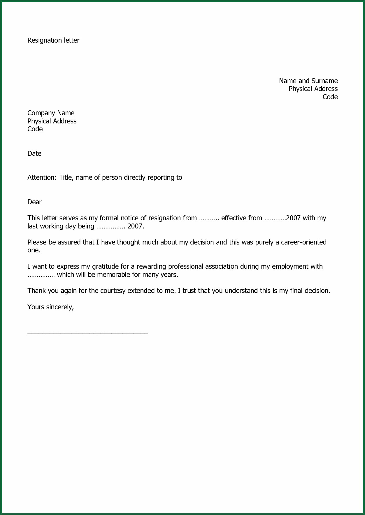 How To Write A Resignation Letter Uk Sample