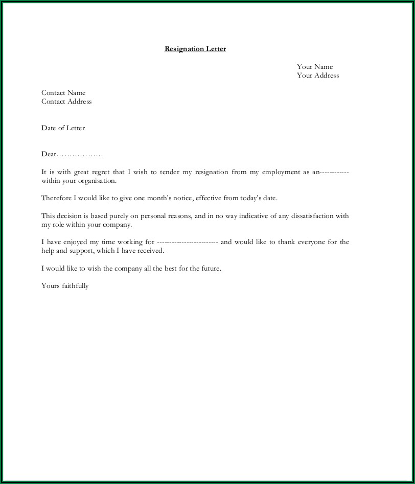 How To Write Resignation Letter Sample Pdf