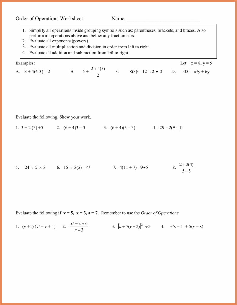 Introduction To Order Of Operations Worksheets