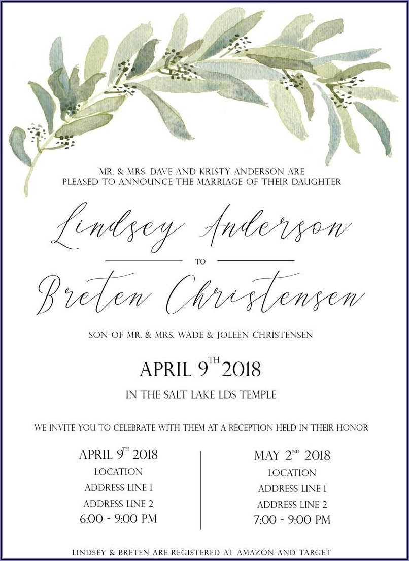 Lds Wedding Announcement Wording