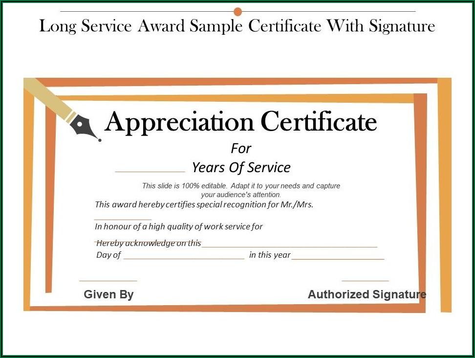 Long Service Award Certificate Sample