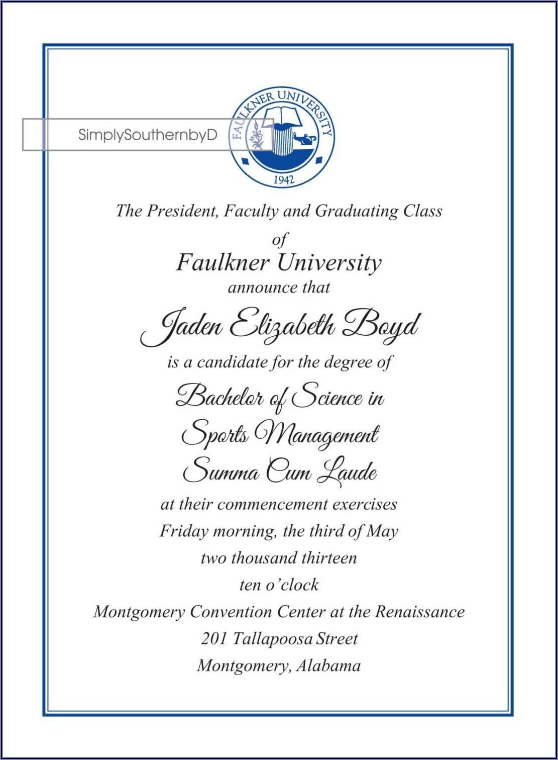 Masters Graduation Announcement Wording
