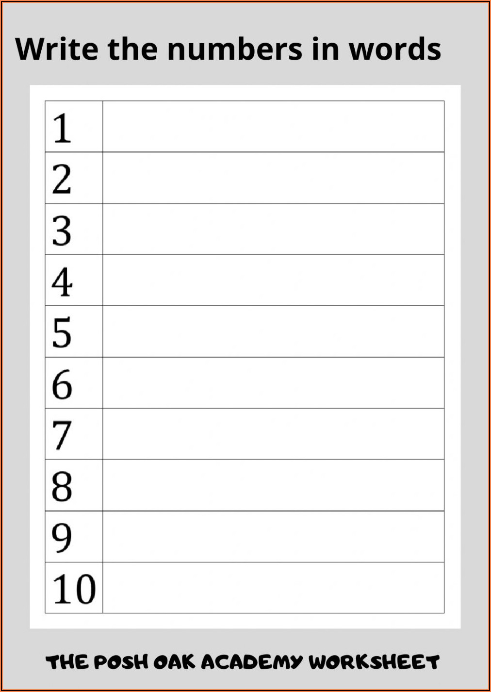 Matching Numbers To Words Worksheet 1 10