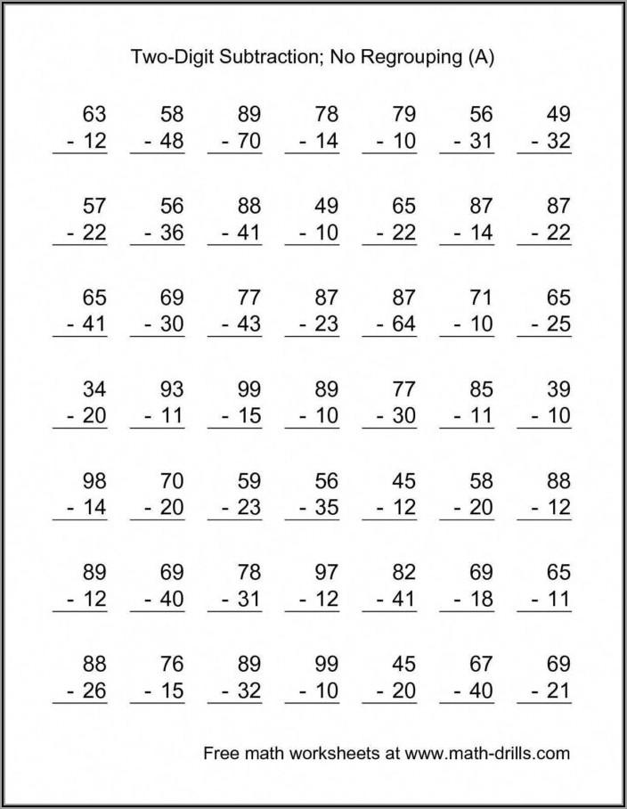 Math Worksheet Borrowing Subtraction