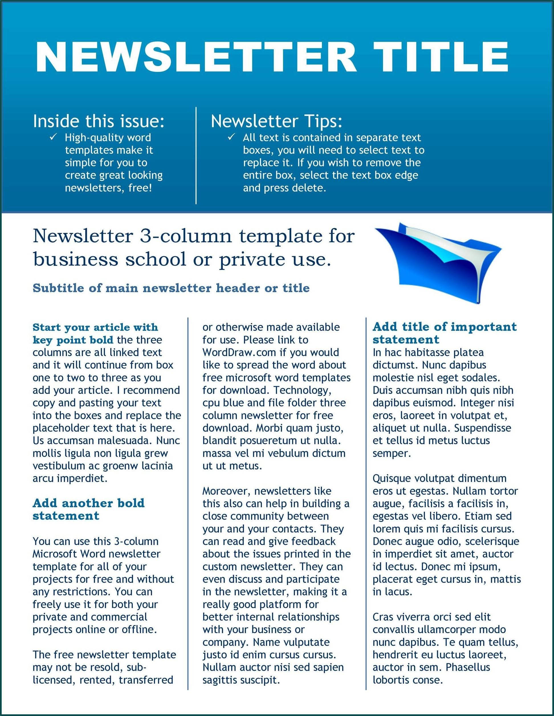 Microsoft School Newsletter Templates Free
