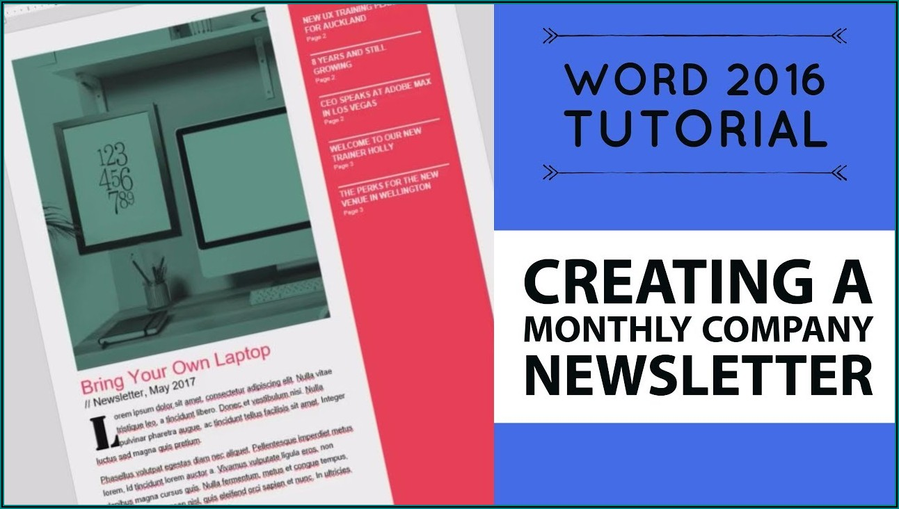 Microsoft Word 2016 Newsletter Templates