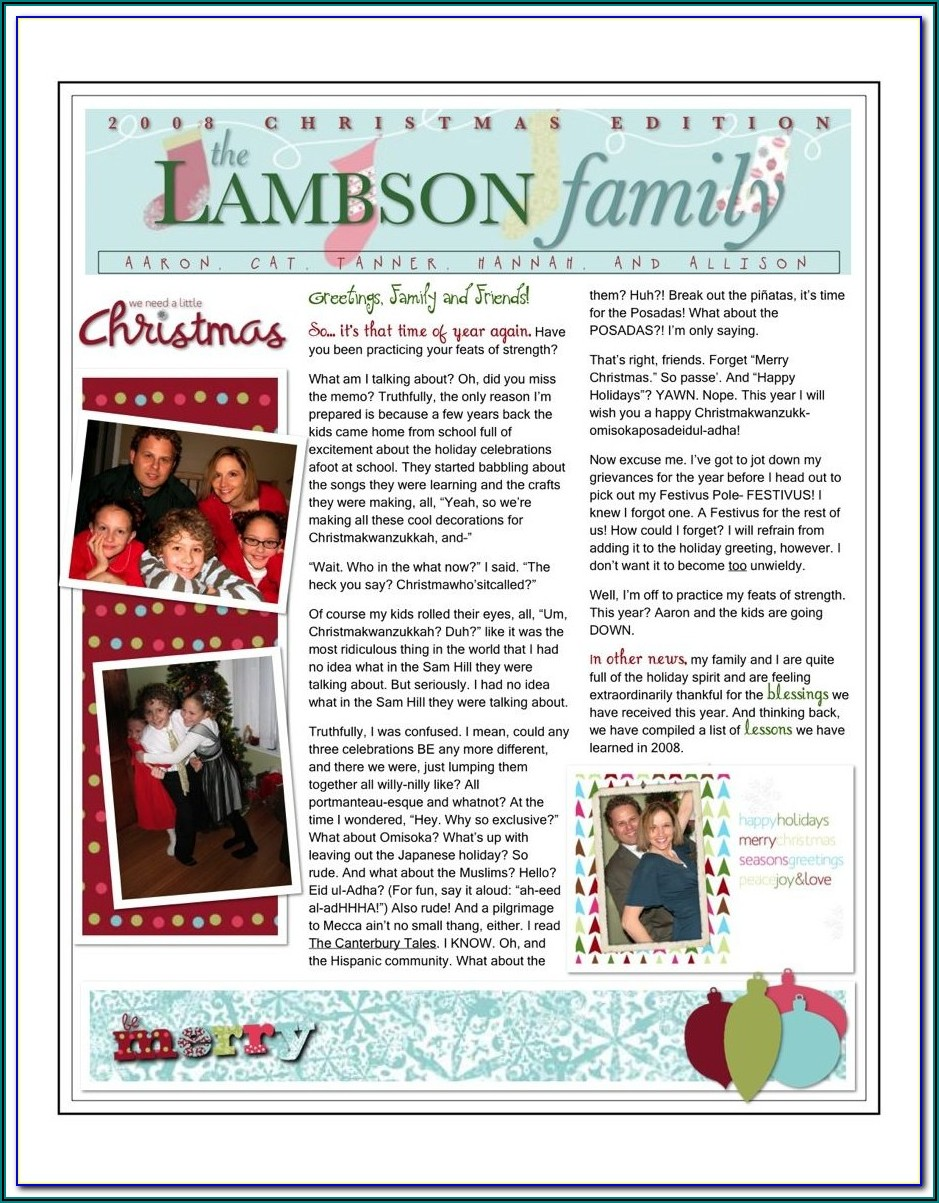 Microsoft Word Family Newsletter Templates
