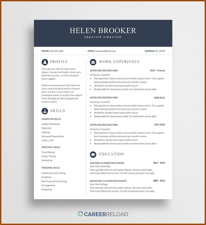 Microsoft Word Free Resume Template Download