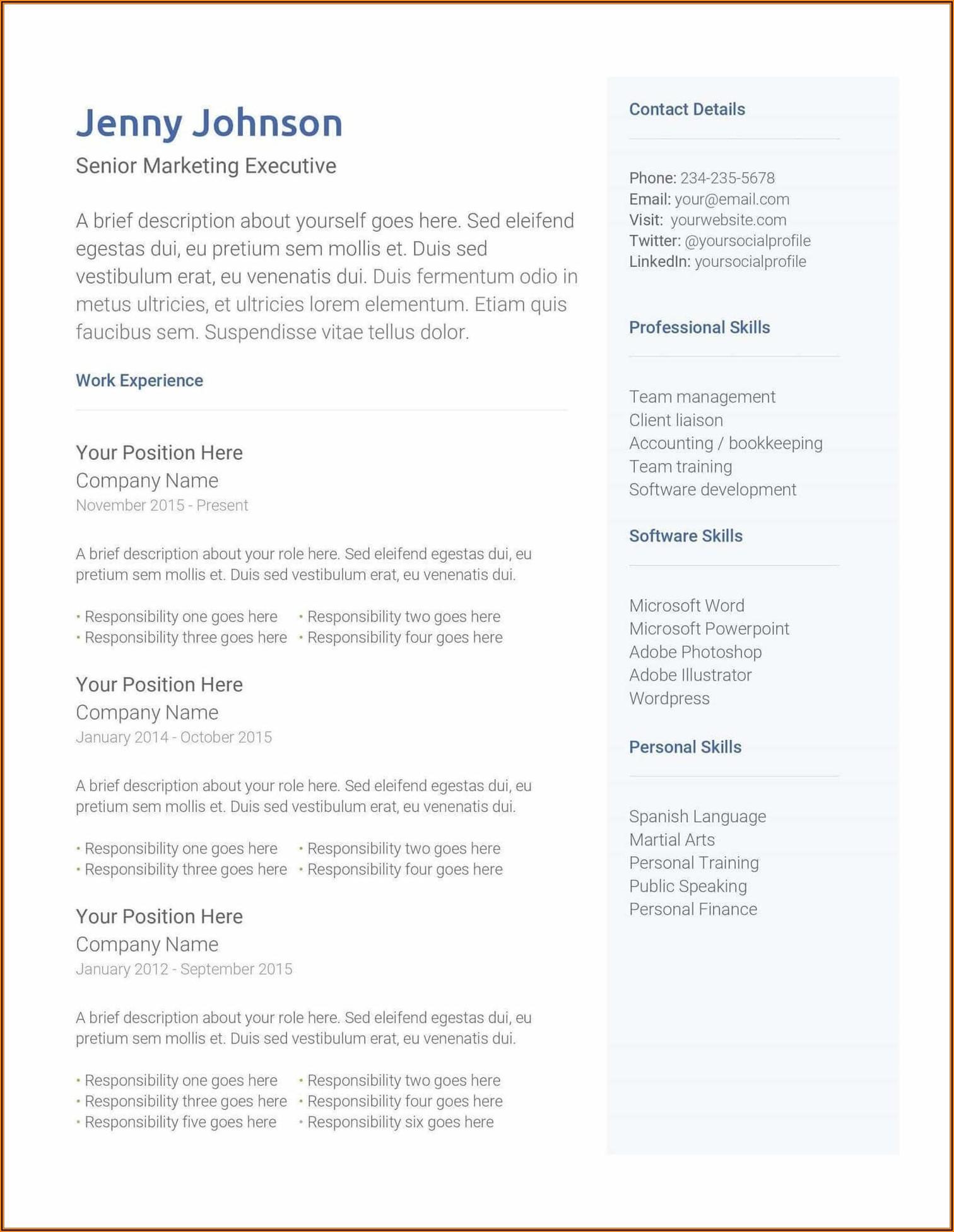 Microsoft Word Free Resume Templates 2020
