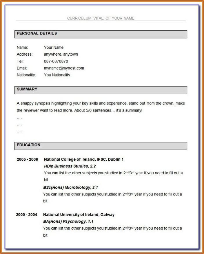 Microsoft Word Resume Format Free Download