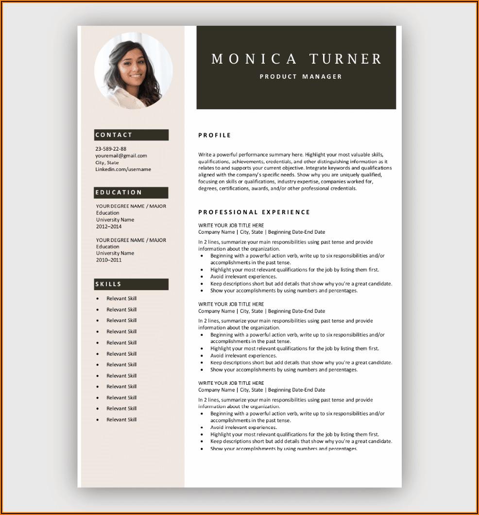 Microsoft Word Resume Templates Free Download