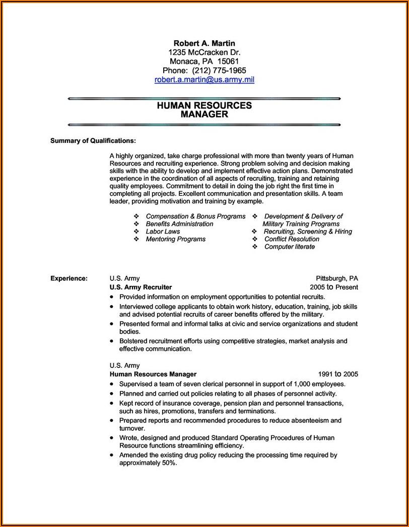 Military To Civilian Resume Service