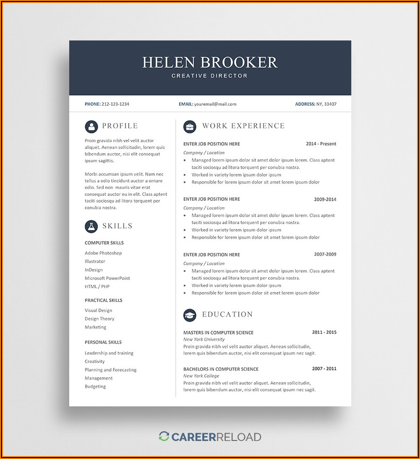 Modern Resume Template Microsoft Word Free Download