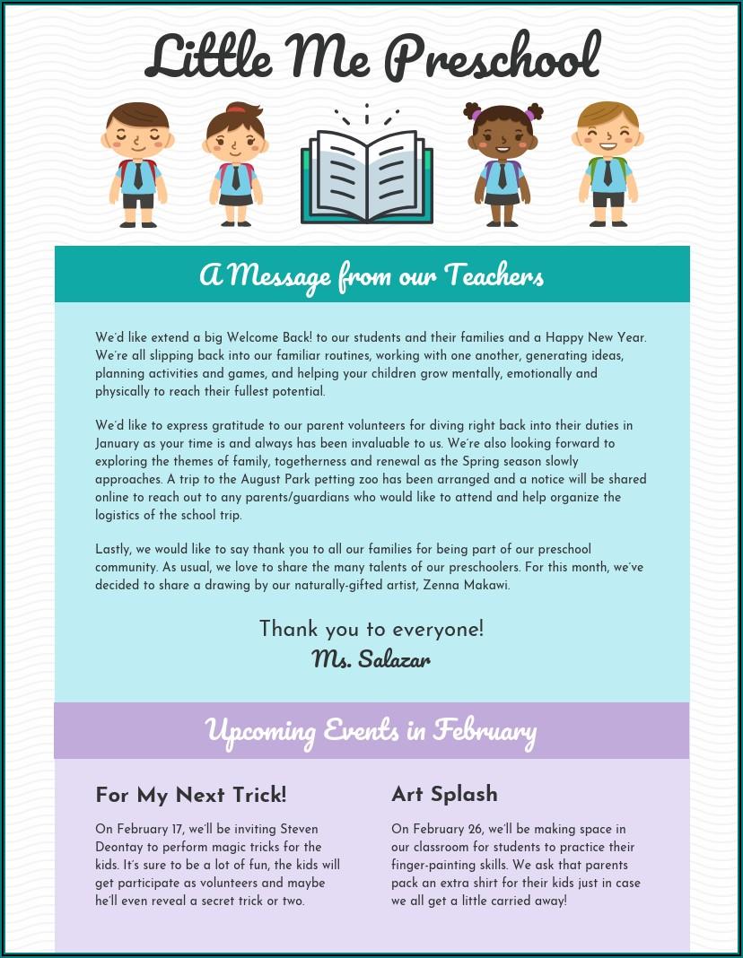 Monthly Preschool Newsletter Sample
