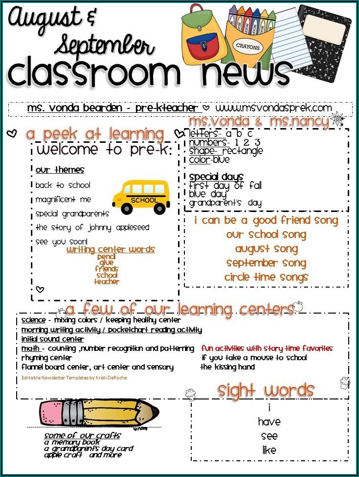 Monthly Preschool Newsletter Template