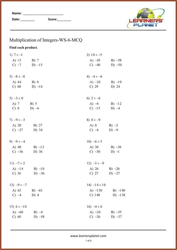 Negative Numbers Division Worksheet