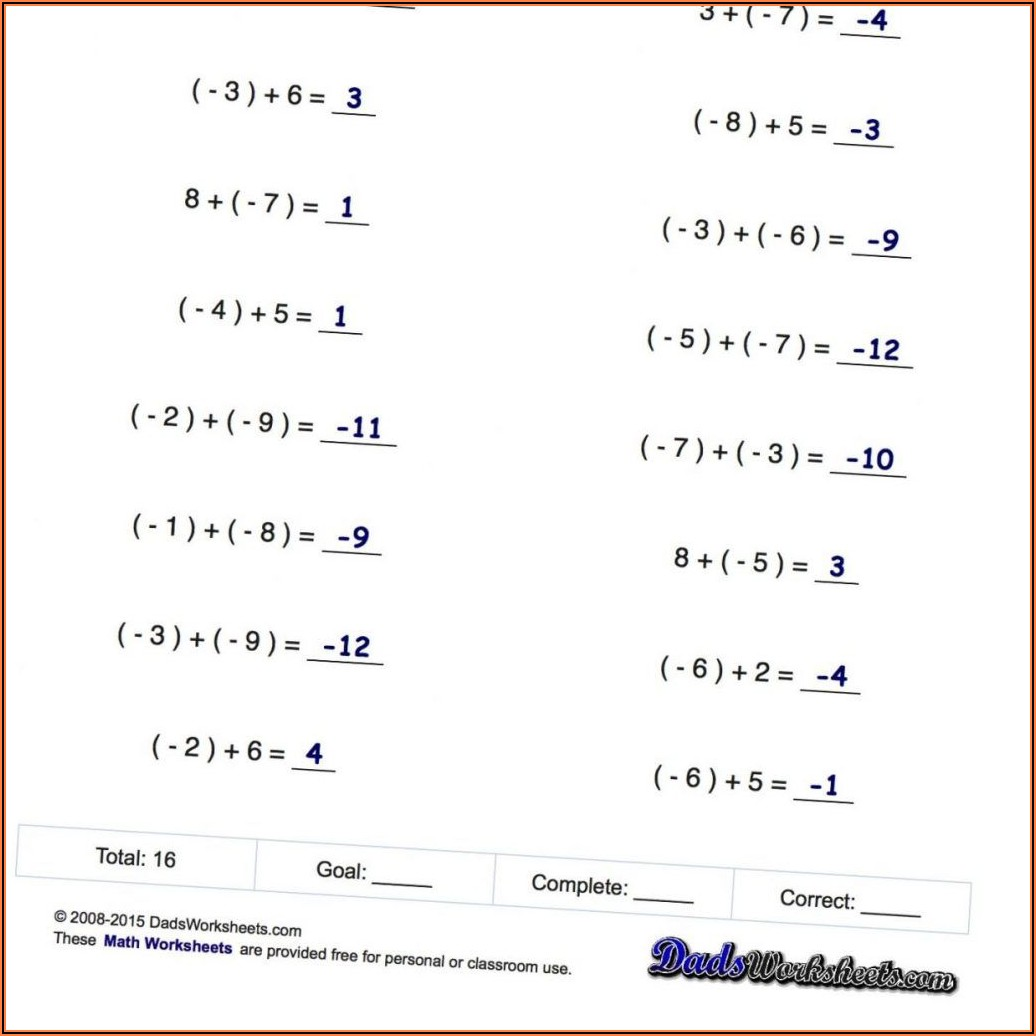Negative Numbers Multiplication And Division Worksheet Pdf