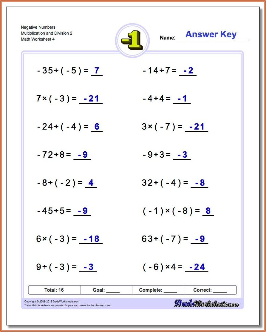 Negative Numbers Multiplication And Division Worksheet