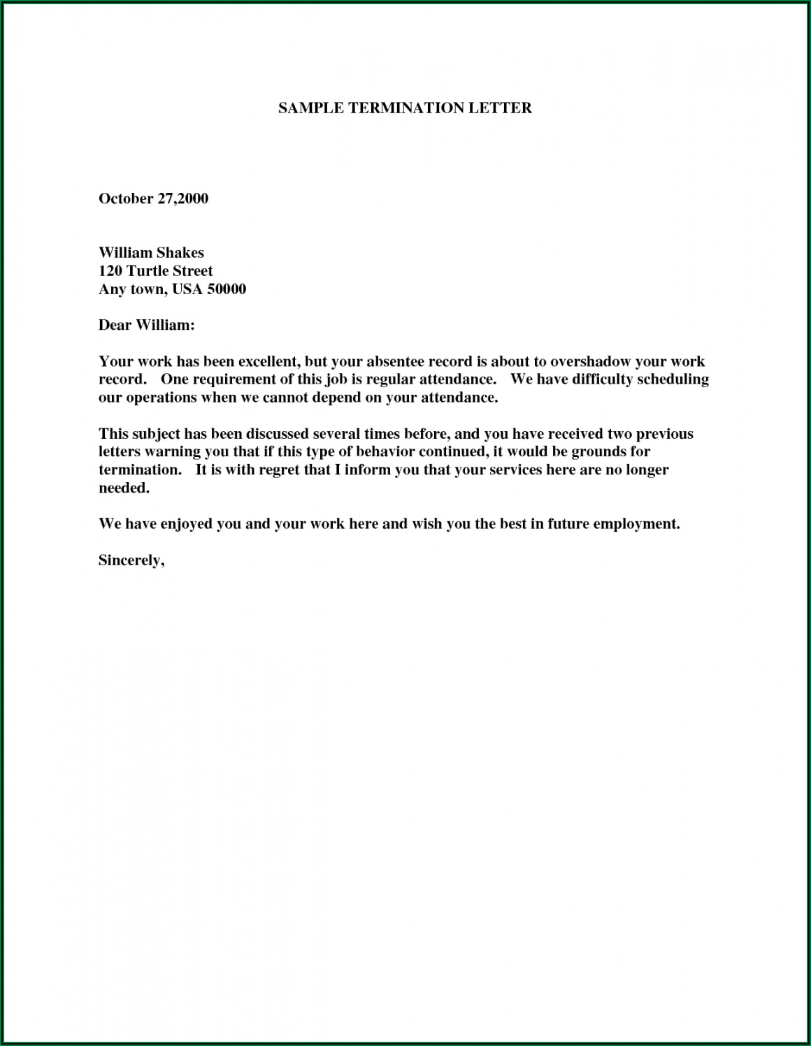 Notice Termination Of Employment Letter