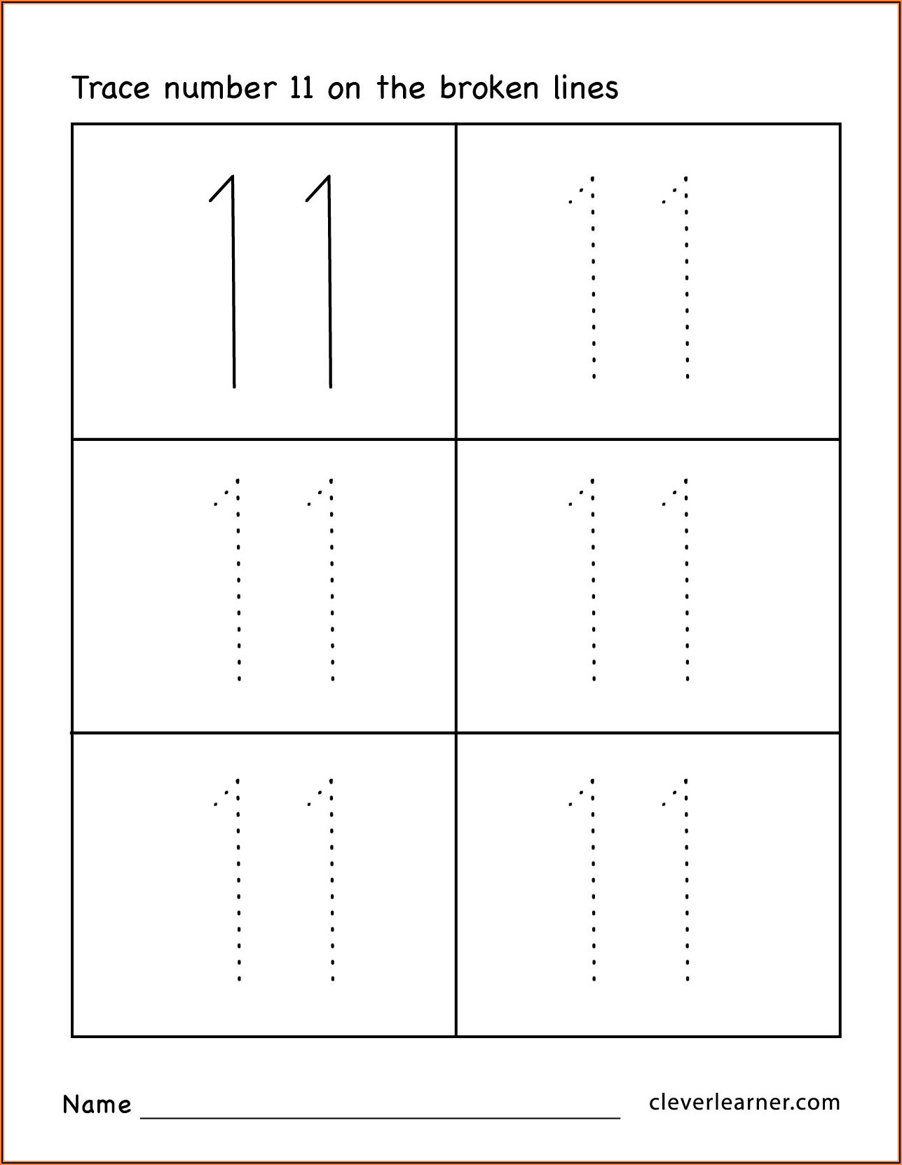 Number Tracing Worksheets 11 20