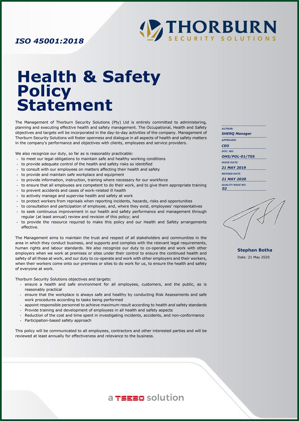 Occupational Health And Safety Policy Template South Africa