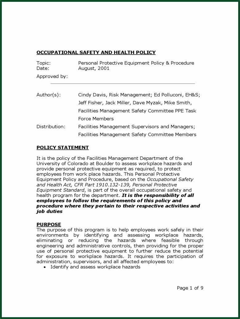 Occupational Health And Safety Policy Template
