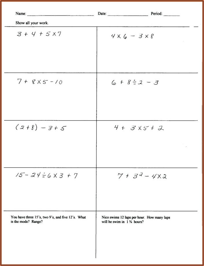Order Of Operations Printable Worksheets 7th Grade