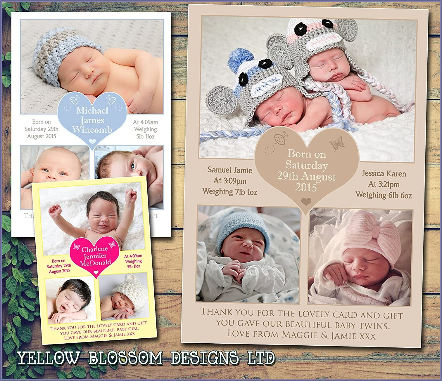 Personalised New Baby Announcement Cards
