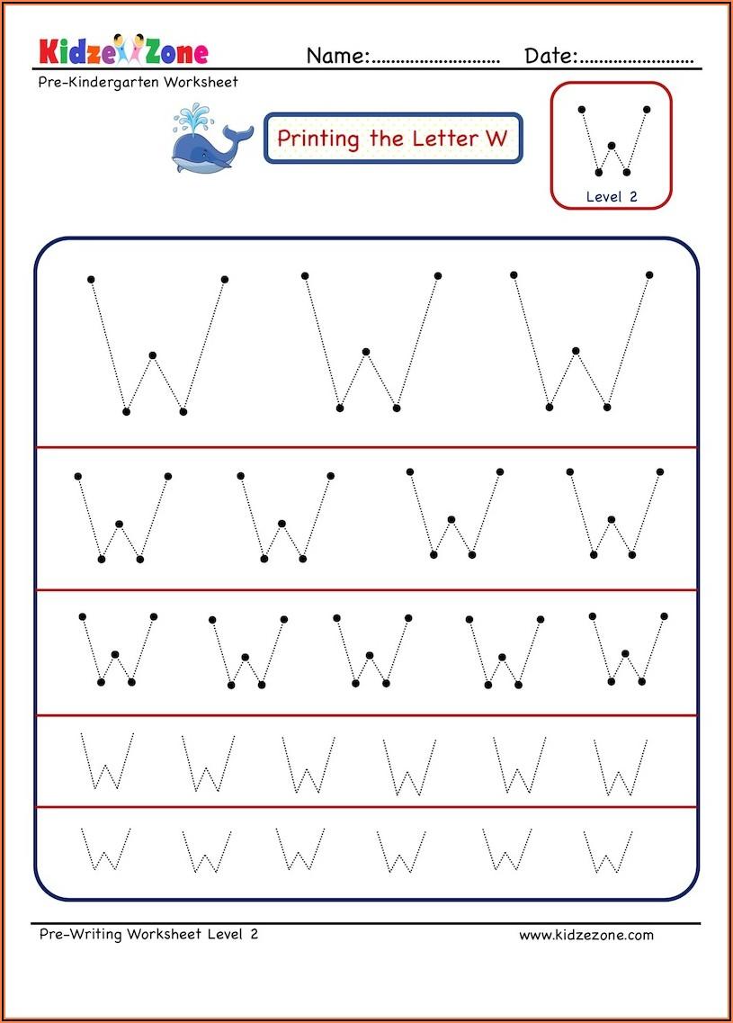 Pre Writing Worksheet For Kindergarten