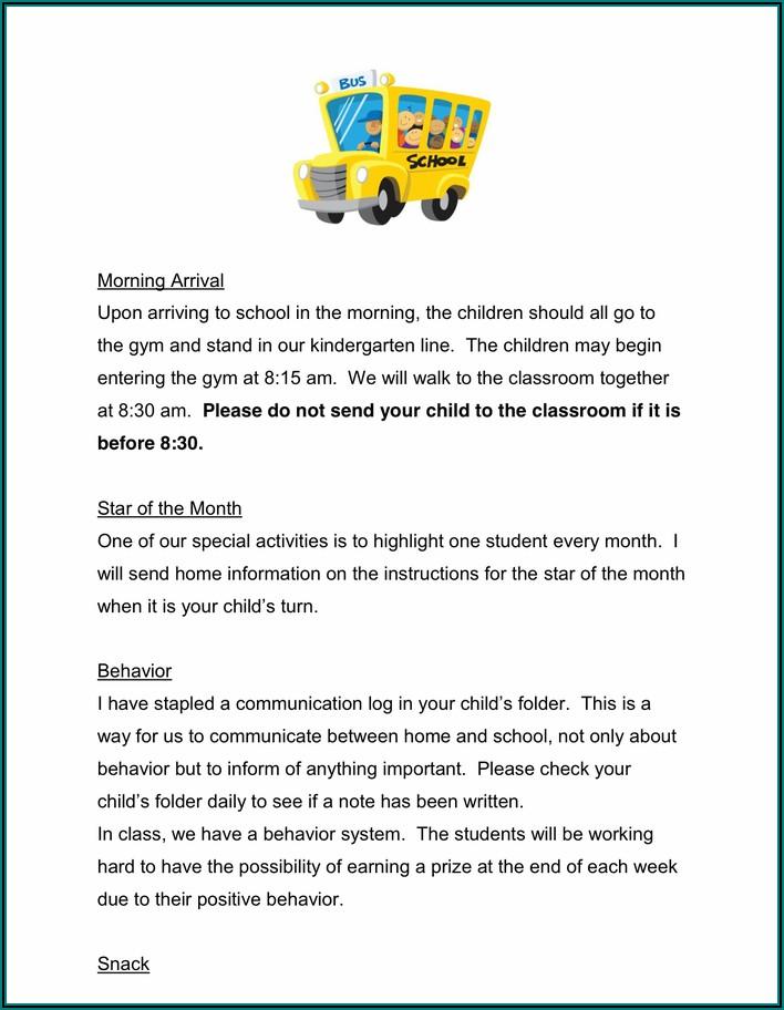 Preschool Newsletter Samples For September