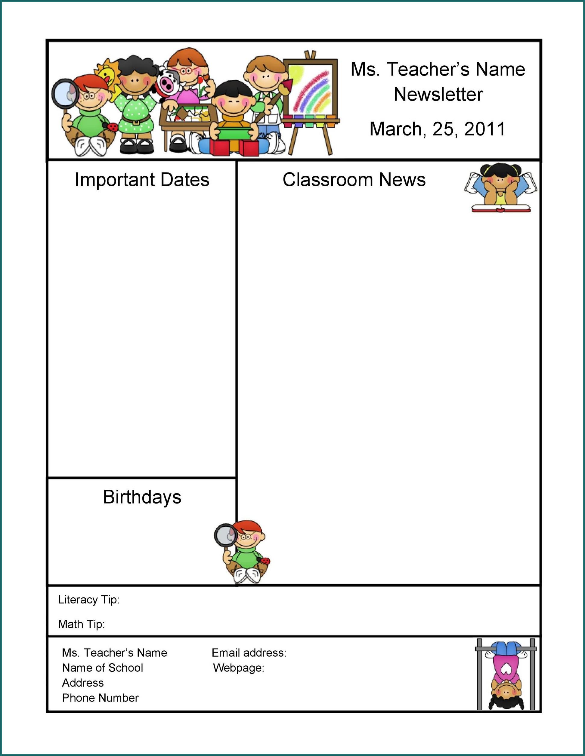 Preschool Weekly Newsletter Template Free