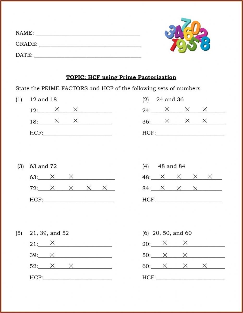 Prime Numbers Worksheet For Grade 3