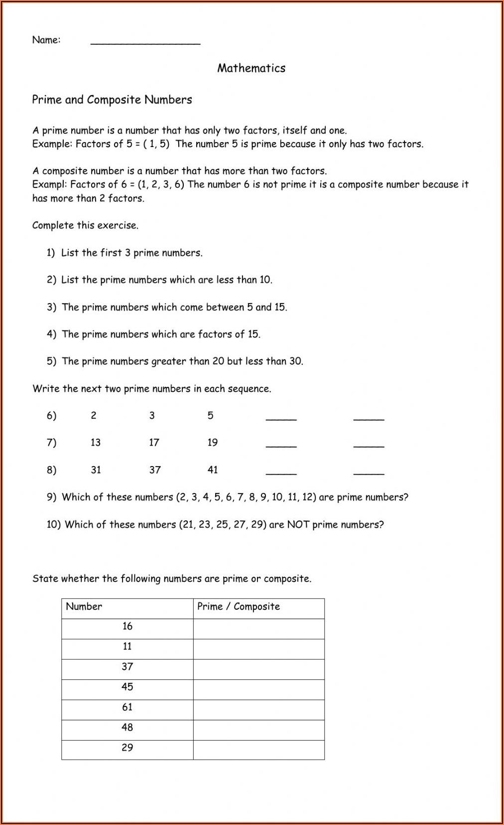 Prime Numbers Worksheet Year 4