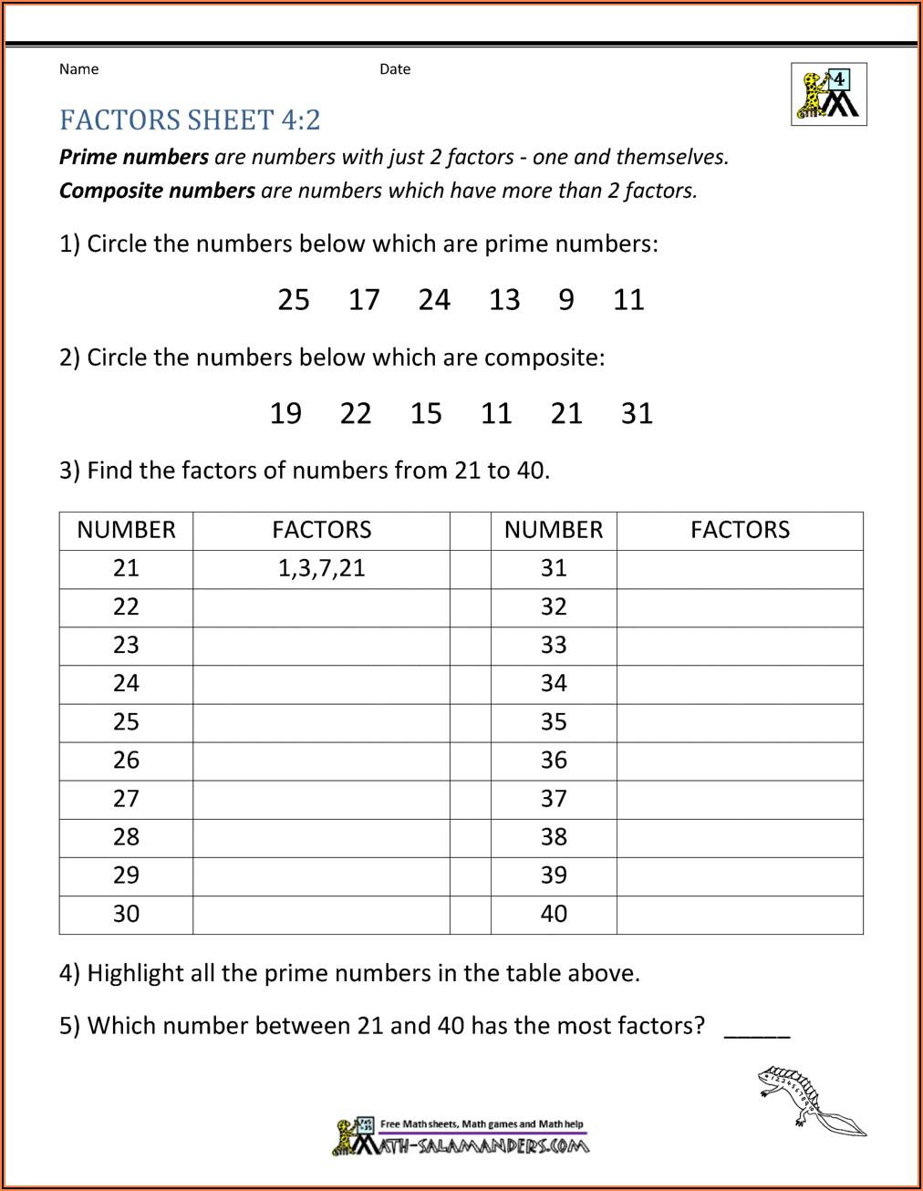 Prime Numbers Worksheet Year 5