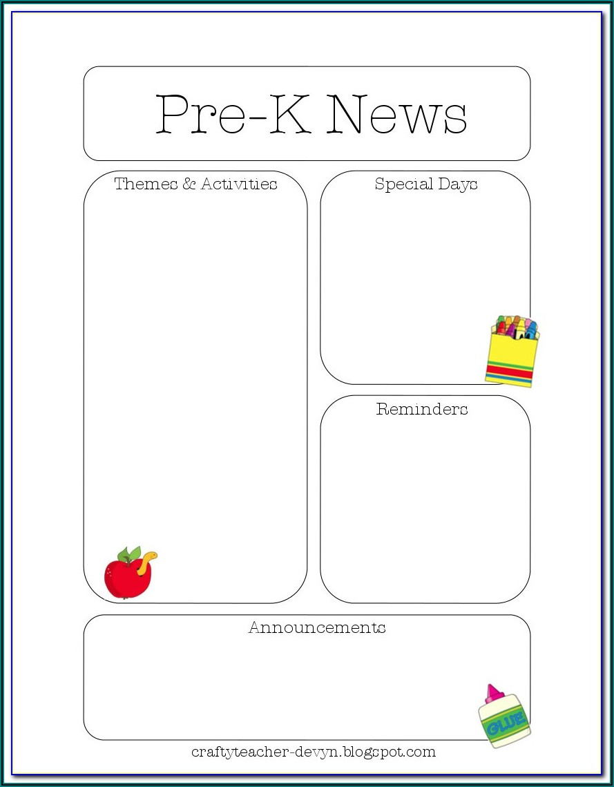 Printable Newsletter Templates For Preschool