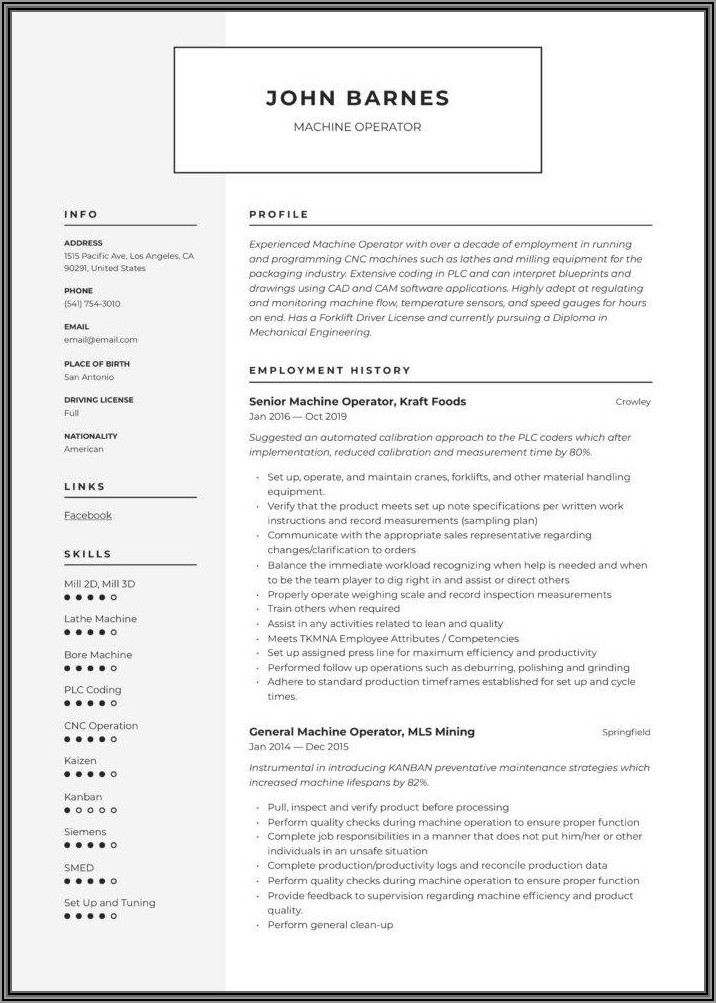 Resume Format For Iti Machinist