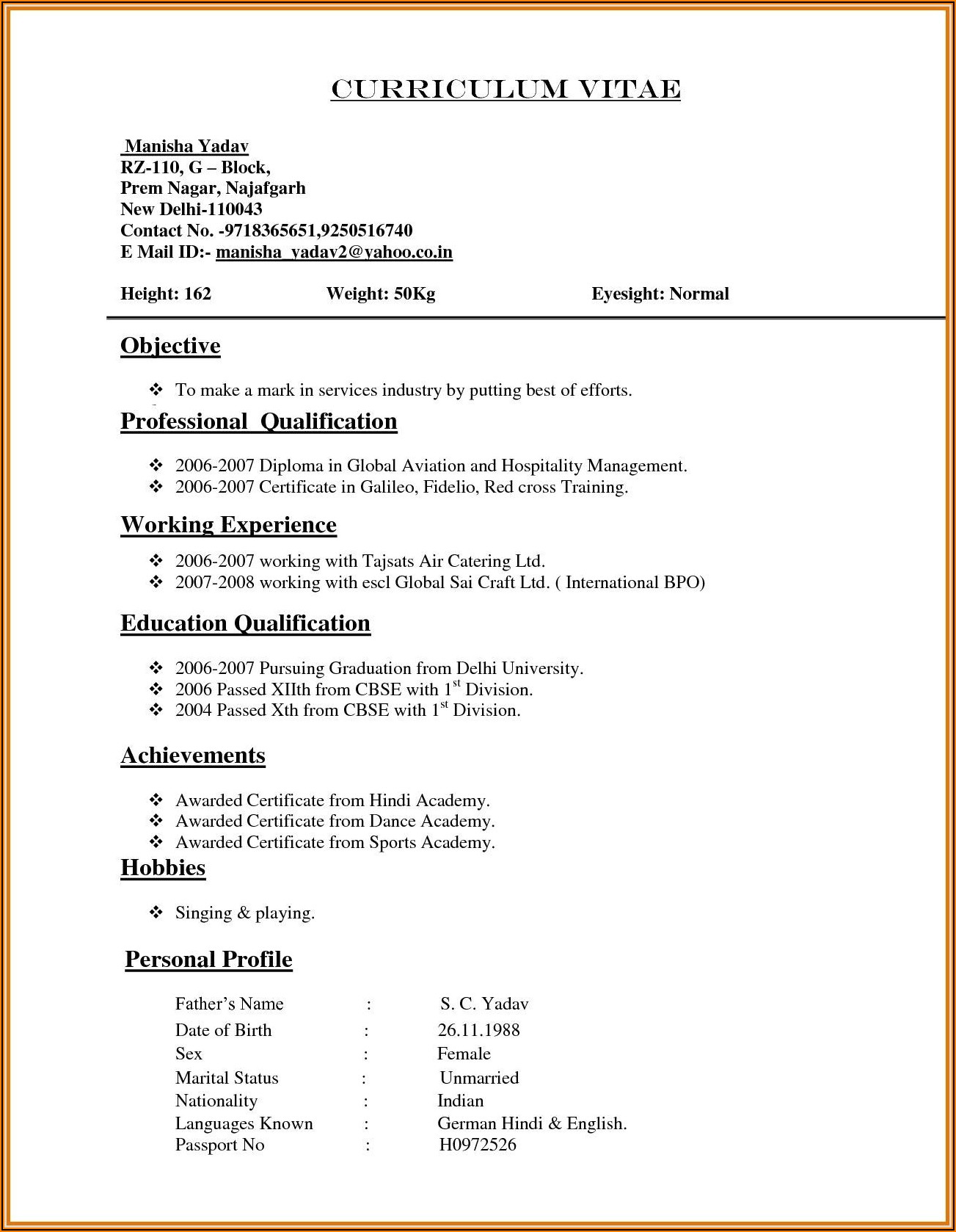 Resume Format For Ms Word Download