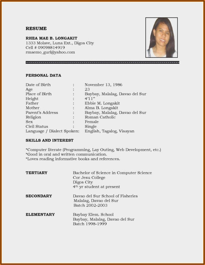 Resume Format In Word Document Free Download For Freshers