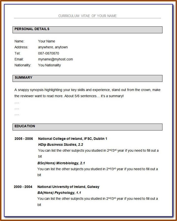 Resume Format Ms Word 2007 Download