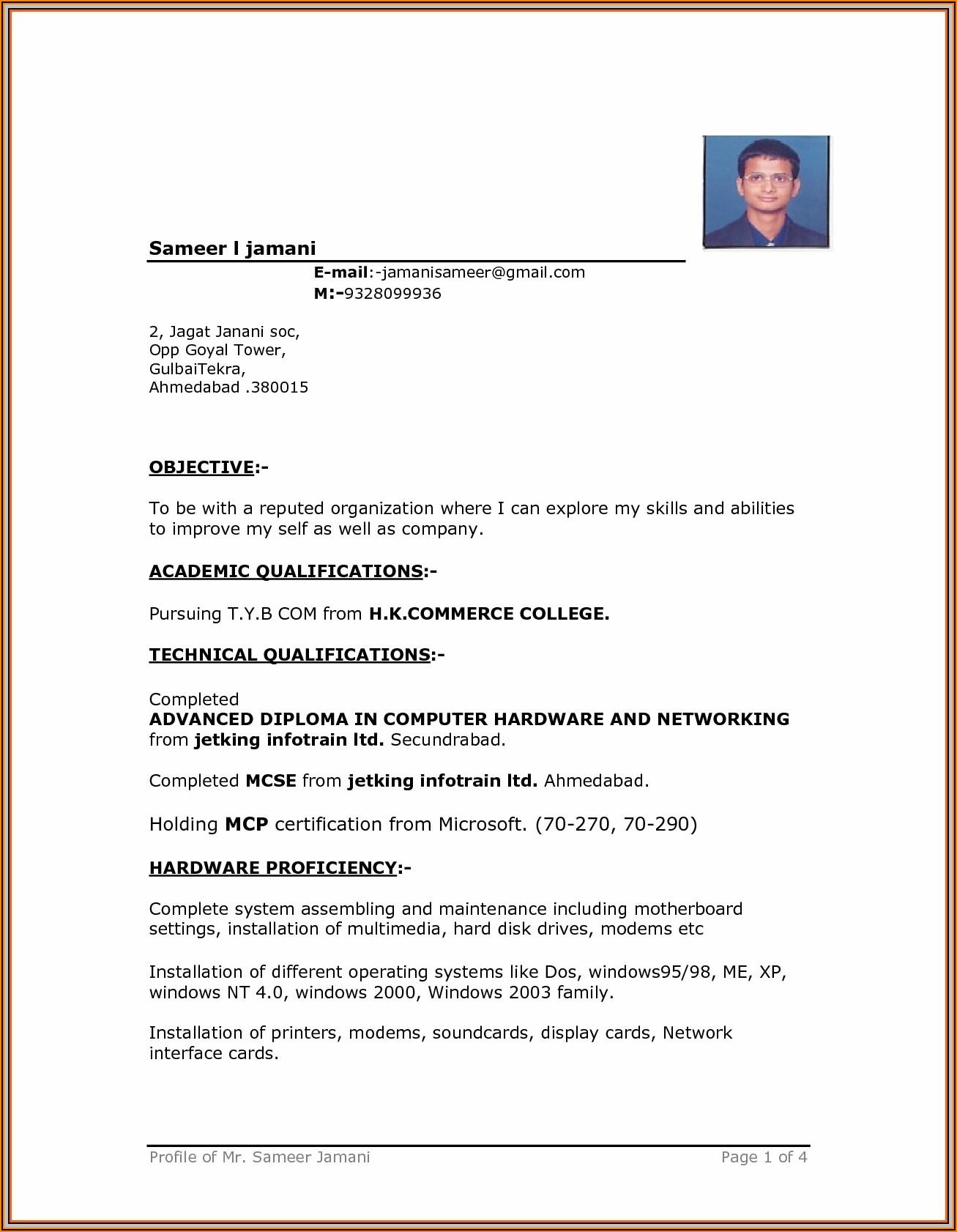 Resume Format Ms Word Download Free