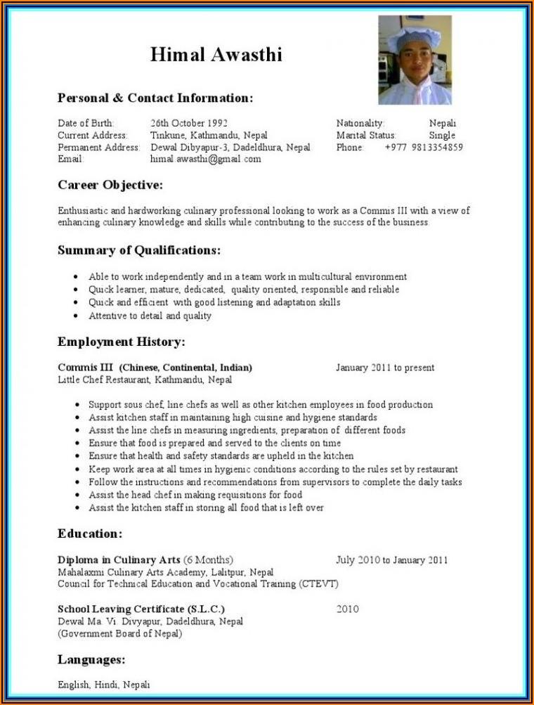 Resume Format Wordpad File