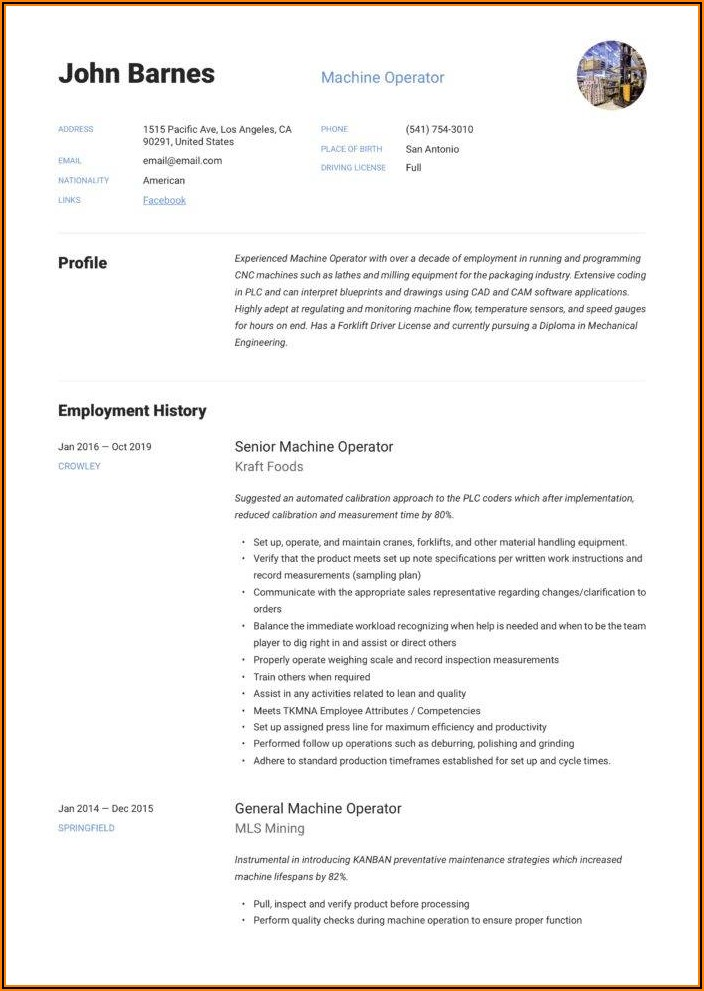 Resume Sample For Machinist