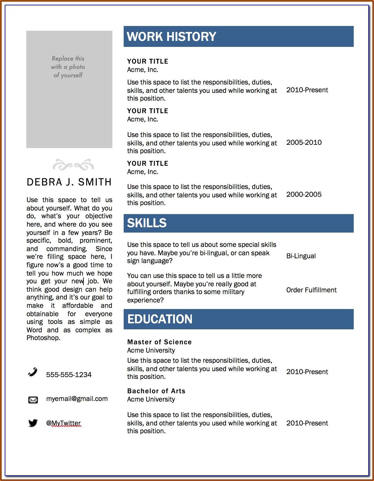 Resume Template Microsoft Word Download