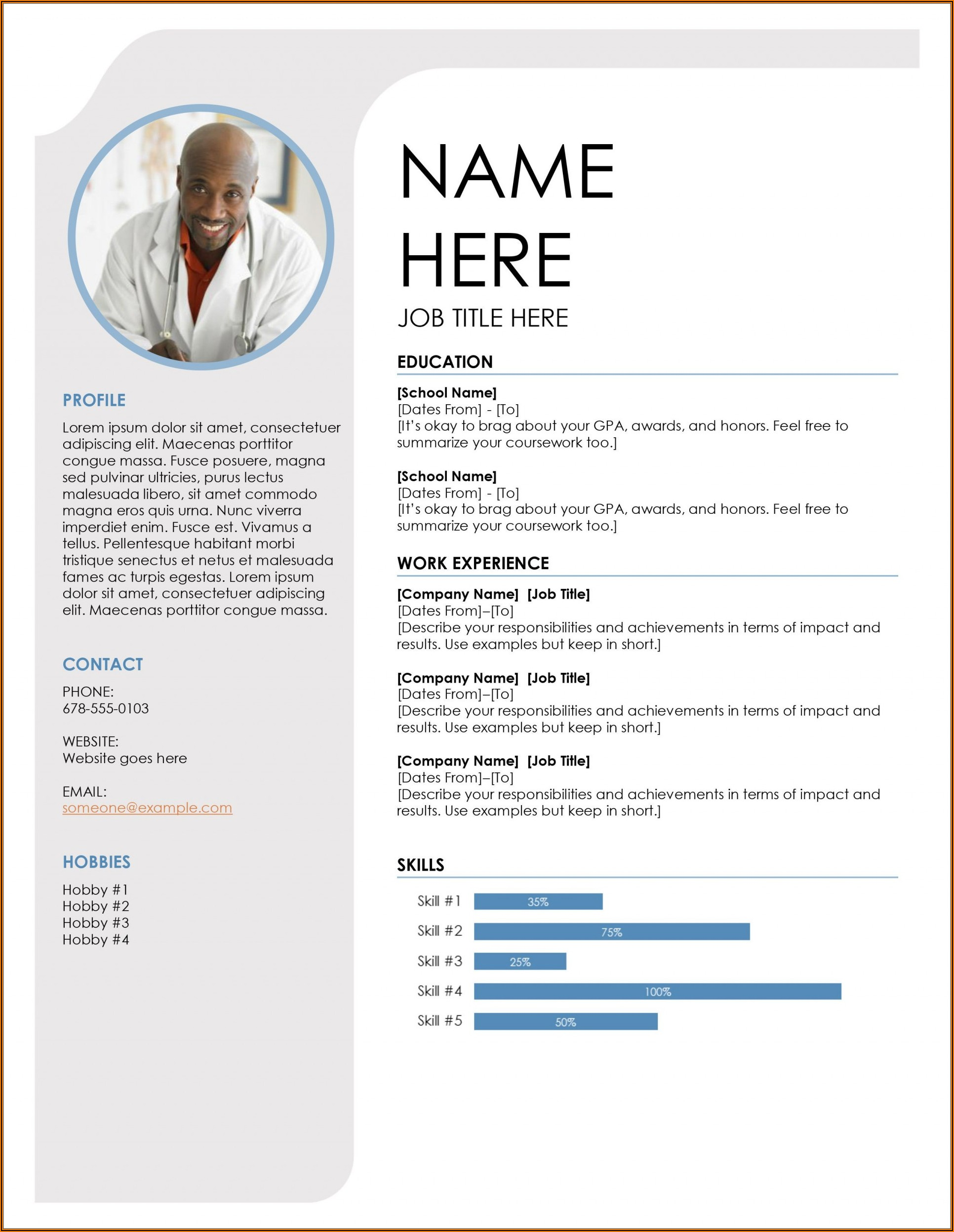 Resume Template Ms Word 2013