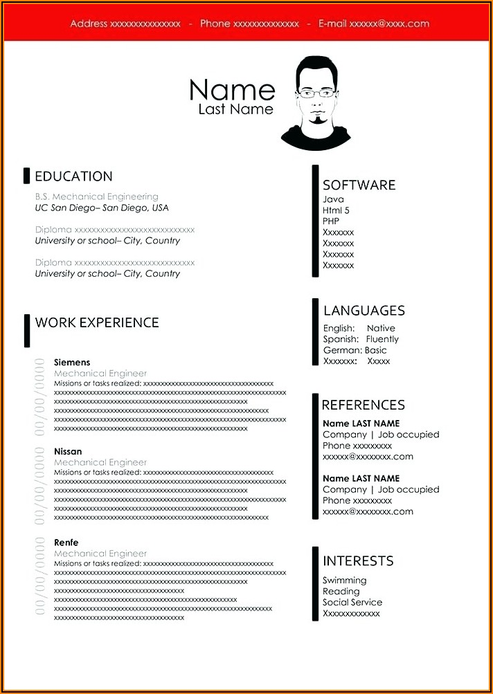 Resume Template Word 2013 Free Download