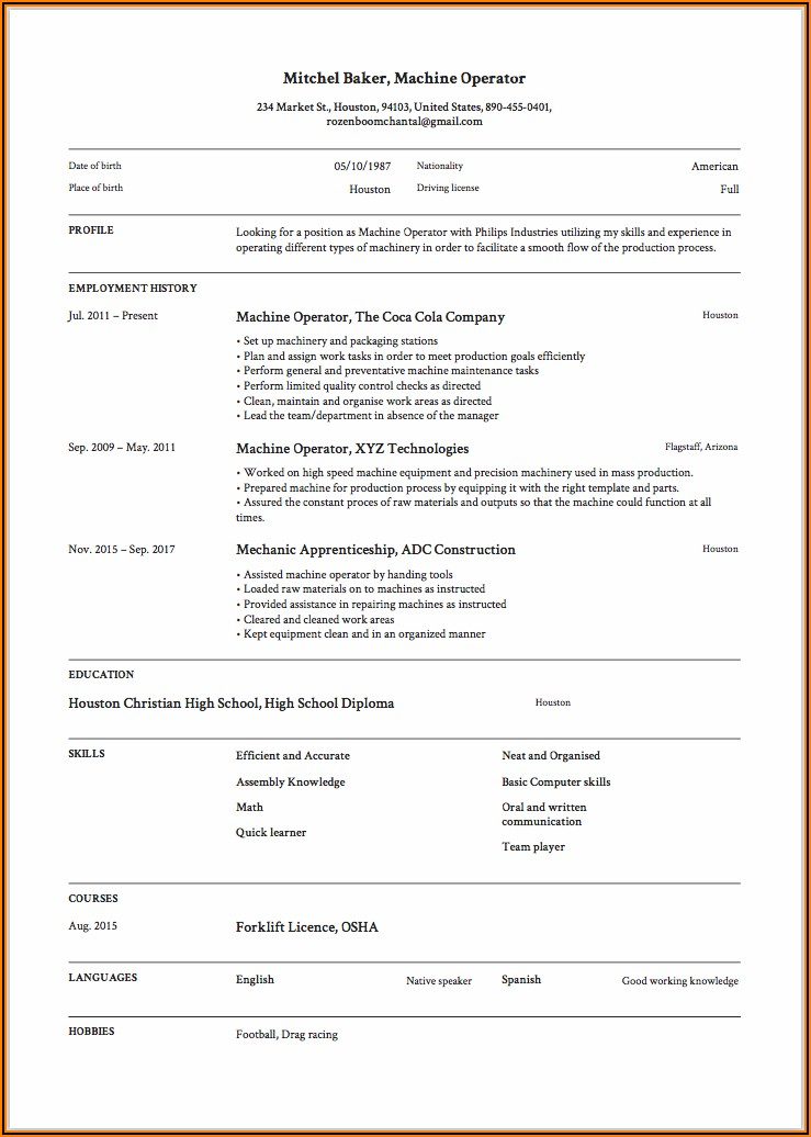 Resume Templates For Machines