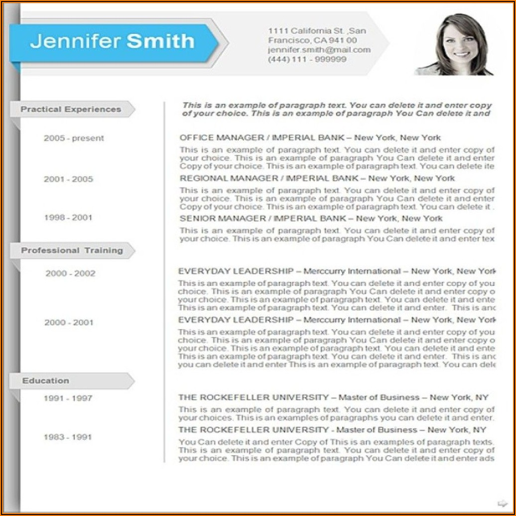 Resume Templates For Ms Word 2010