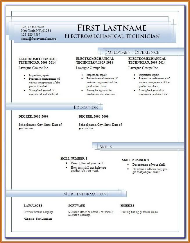Resume Templates Microsoft Word 2007 Free Download